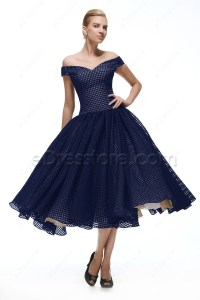 Off the Shoulder Navy Blue Vintage Prom Dresses Tea Length