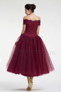 Burgundy Off the Shoulder Ball Gown VIntage Prom Dresses