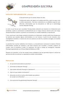 Fichas de compresión lectora para primaria: el invento de la penicilina.
