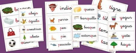 Fichas de vocabulario y letras para trabajar con los niños. Fichas numeradas por letras y con 4 palabras en cada fichas para aprender vocabulario, ortografía, etc. Fichas con la a, con la b, etc.