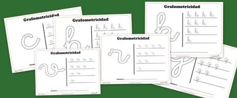 Fichas de Grafomotricidad con todas consonantes del abecedario
