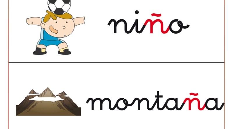 Fichas de vocabulario con la letra abecedario Ñ: niños, montaña, etc
