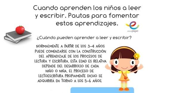 Imágenes educativas: Cuando los niños aprenden a leer y escribir