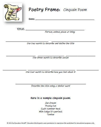 Cinquain Poems Template | Sample Customer Service Resume