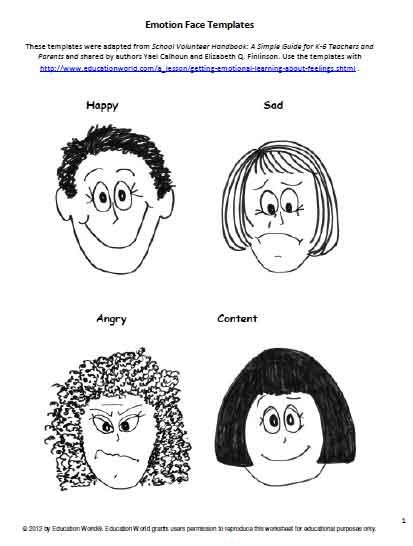 Emotion Face Templates Education World