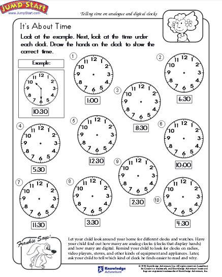 Telling Time Worksheet - Download Education World - time worksheets