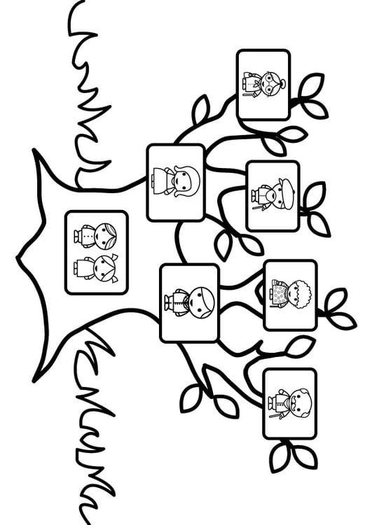 Dibujo para colorear árbol genealógico - Img 26873