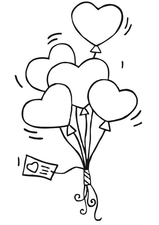Disegno Da Colorare Palloncini Cuoricini