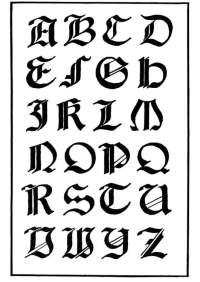 Disegno da colorare scrittura italiano gotico - Cat. 11229.