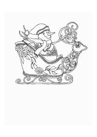 Disegno da colorare slitta con pupazzo di neve - Cat. 12553.