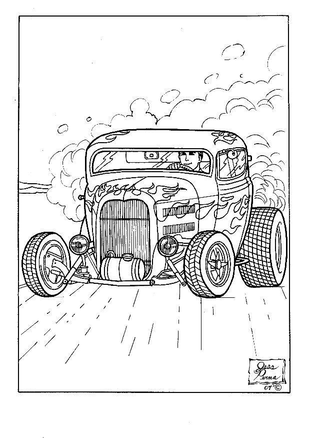 Cool Muscle Cartoon Cars Download Hot Rod Coloring Pages at 1874 x - new online coloring pages for cars