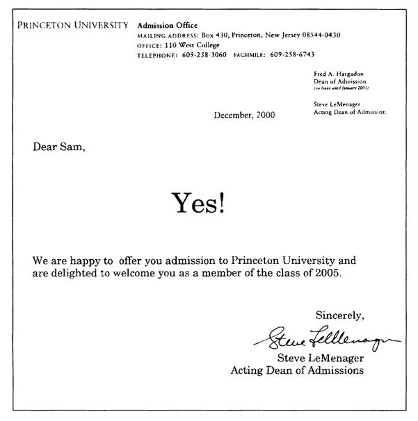 Edward Tufte forum Princeton University Acceptance Letter