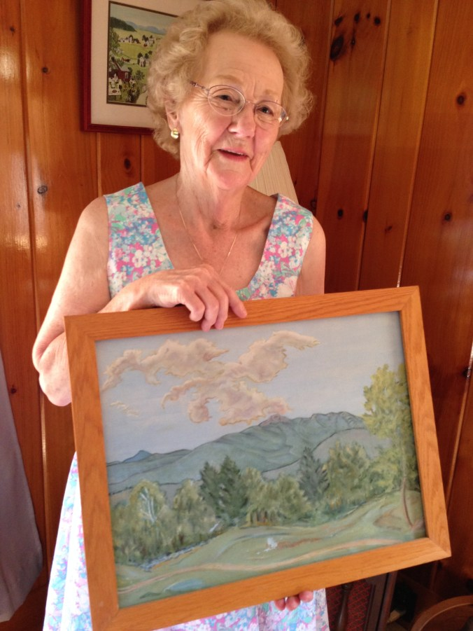 Ruth Shackford and painting