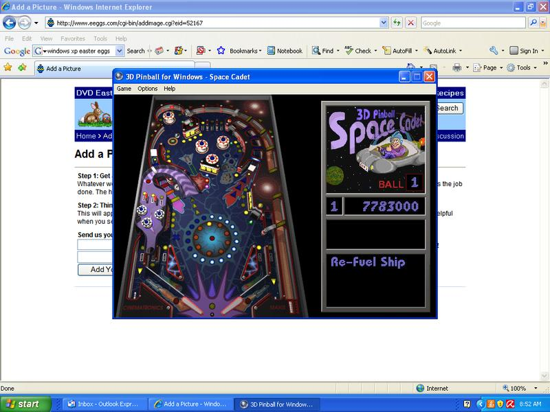 Windows XP Easter Egg - Pinball Mouse Control (not an egg)