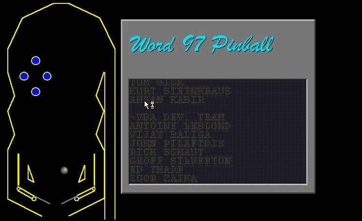 Word (Microsoft) Easter Egg - Pinball in Word 97