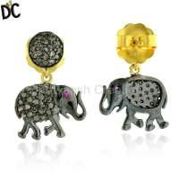 Elephant Charm Dangle Earrings Diamond Gemstone Silver ...