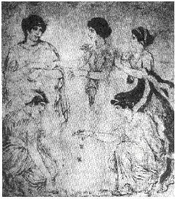 Jugadoras de huececillos en un fresco de Pompeya, Museo Nazionale, Nápoles