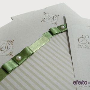 Convite Paris em papel reciclado com laço chanel | Evelyn & Diego