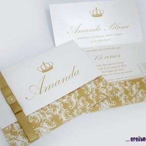 Convite Joaquina - Papel metalizado