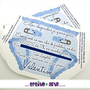 Convite formato especial fralda | Chá de Fralda Valentim