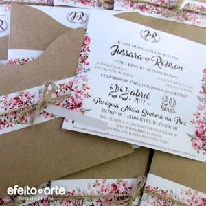 Convite Amsterdam em papel kraft, acabamento com faixa impressa | Jussara & Robson
