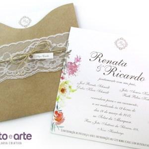 Convite Amsterdam em papel kraft | Renata & Ricardo