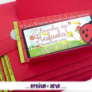 Convite ingresso com envelope + nomes dos convidados | Joaninha Jardim Encantado