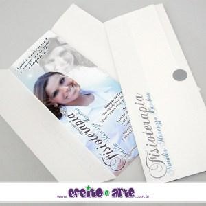 Convite 7,5 x 21cm em papel fotográfico com parte externa em papel metalizado | Fisioterapia