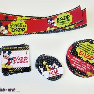 Rótulos para mini refrigerante, redondos e tag 5x5cm com furo | Mickey
