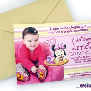 Convite 10x15cm com envelope  | Baby Minnie