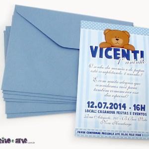Convite 10x15cm com envelope | Urso marrom e azuk