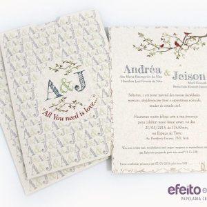 Convite Paris Versão Eco - Andréa & Jeison