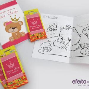 Livros de colorir e giz de cera | Ursinha marrom e rosa coroa
