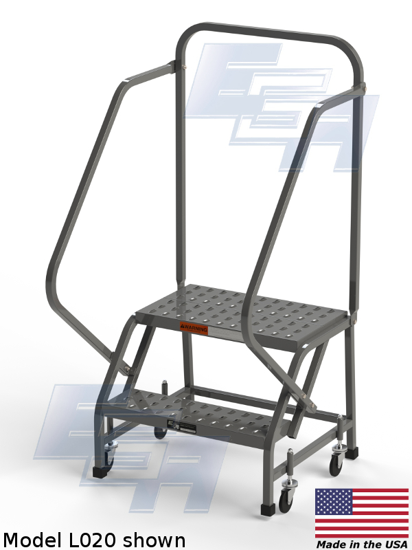Industrial Rolling Ladders Square Tube Ezy Tread L002