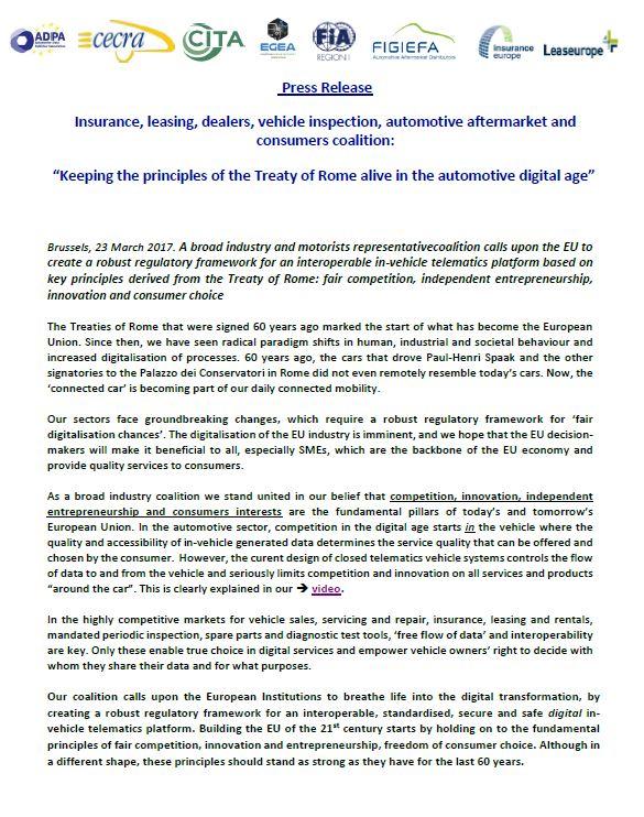 60 years rome treaty - Stakeholder coalition press release - egea