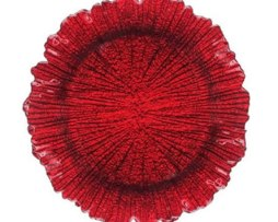 red reef glass charger plate service plate