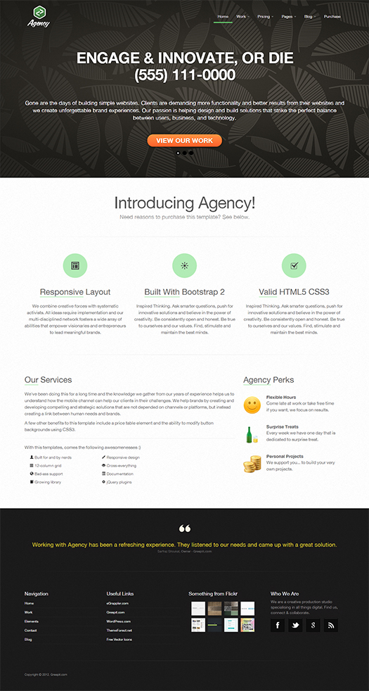 Responsive Enterprise Portfolio Template Constructed Utilizing - podcast website template