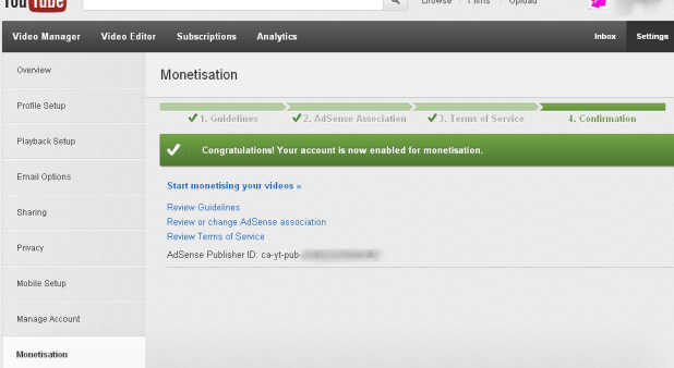 Monitisation option on YouTube account1 How to Associate Youtube with Google Adsense Account