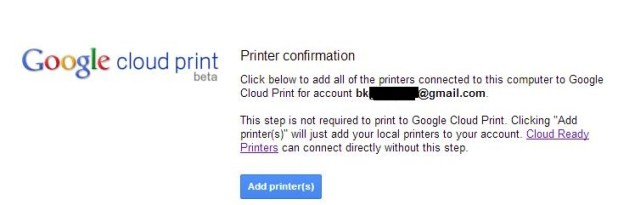 Google Cloud Printer Configuration