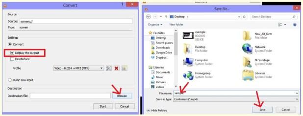 VLC Setting to record desktop screen