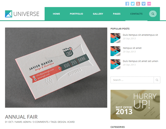 Universe WordPress theme Discount code