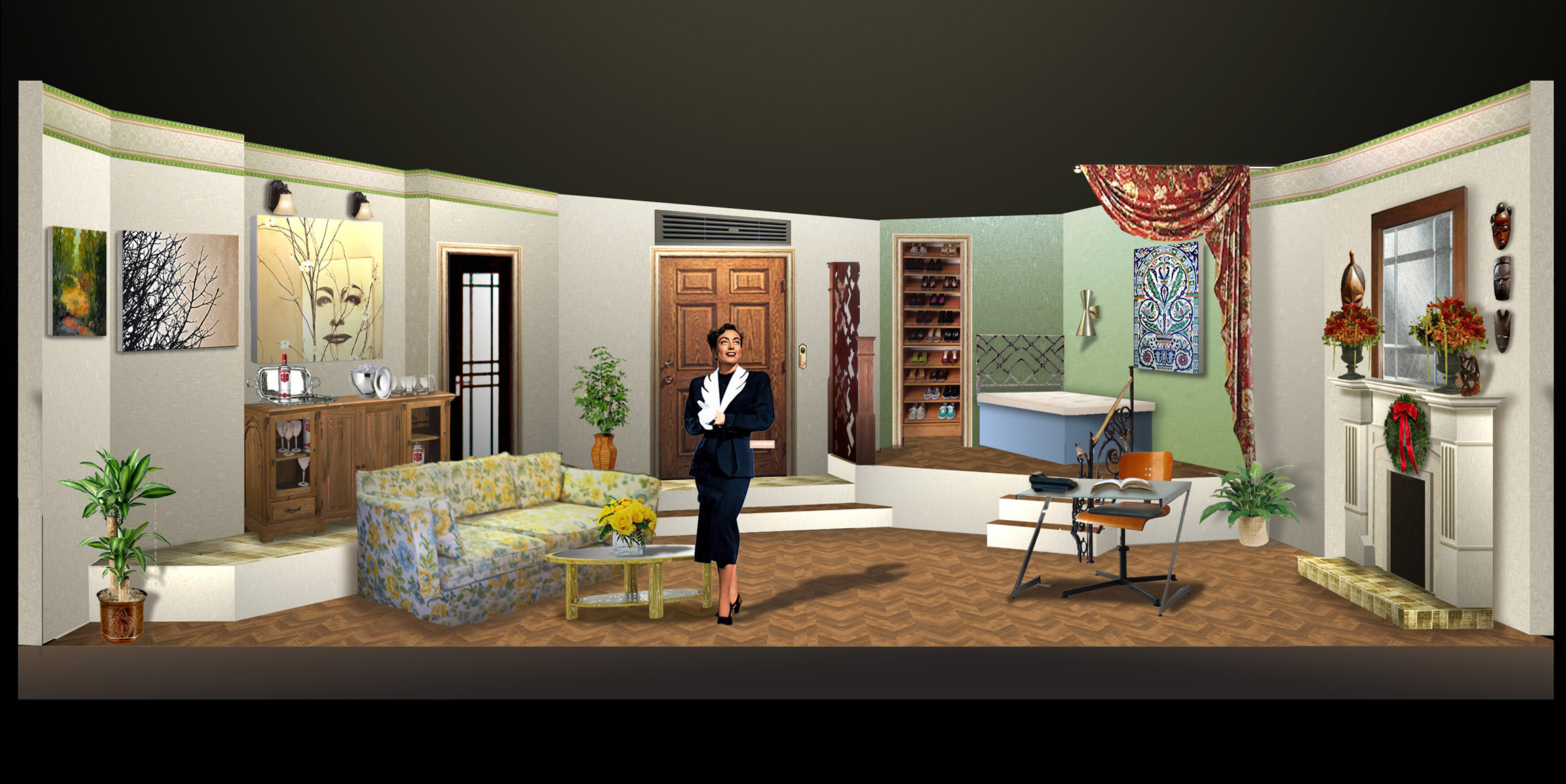 Fashionable Rendering A Very Joan Crawford Evan Hill Joan Crawford House Palm Springs Joan Crawford House Feud curbed Joan Crawford House