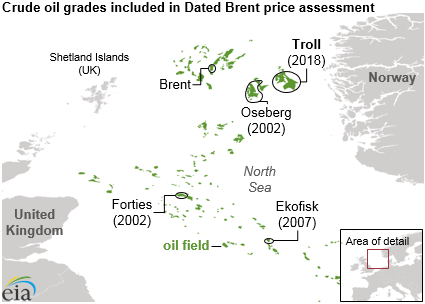 map of crude oil grades included in Dated Brent price assessment, as explained in the article text