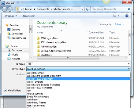 Exchanging Files Between Older Versions of Microsoft Office and