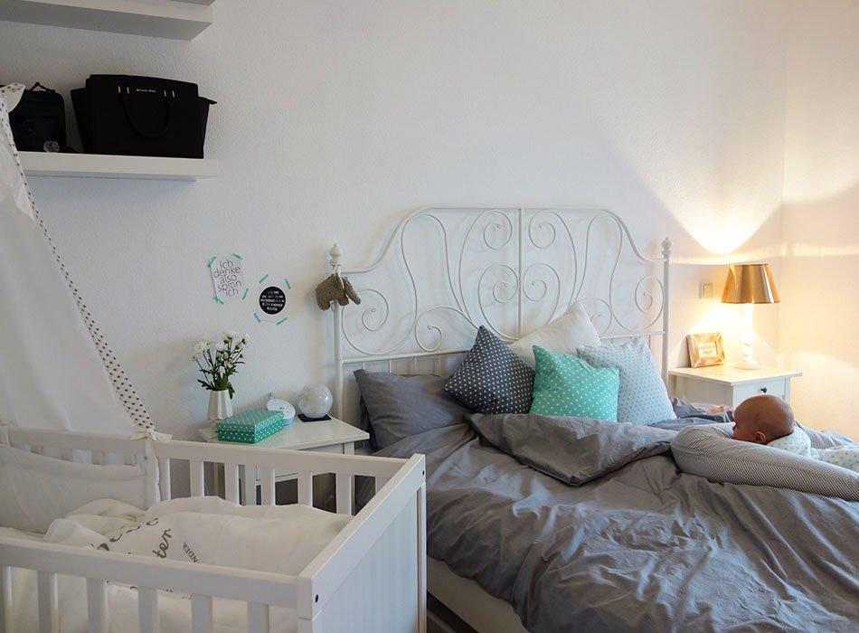 Unser neues Schlafzimmer in grau, weiß, türkis und kupfer - schlafzimmer in turkis