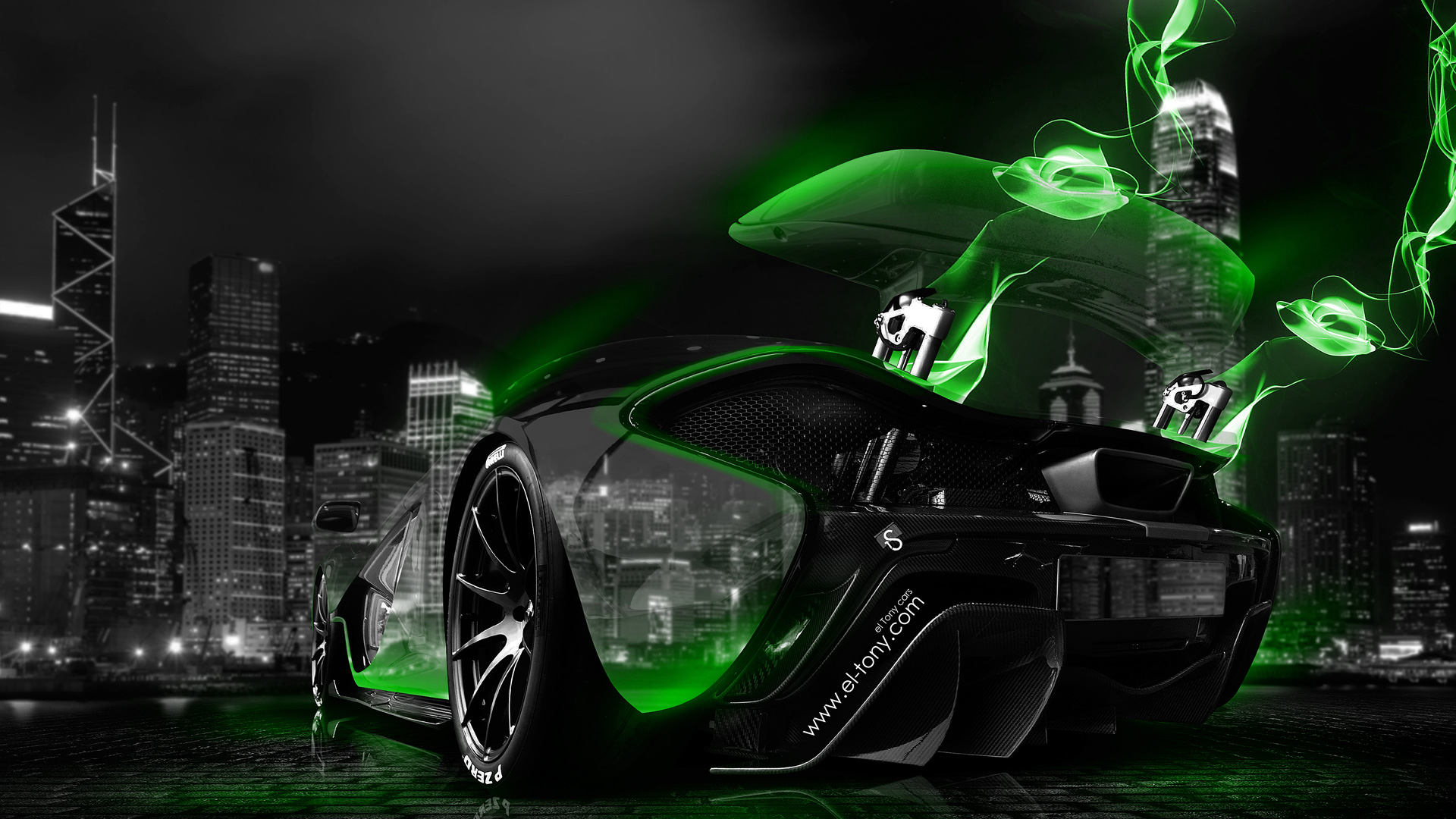 4k Wallpaper Car Lamborghini Mclaren P1 Neon Energy Crystal City Car 2014 El Tony