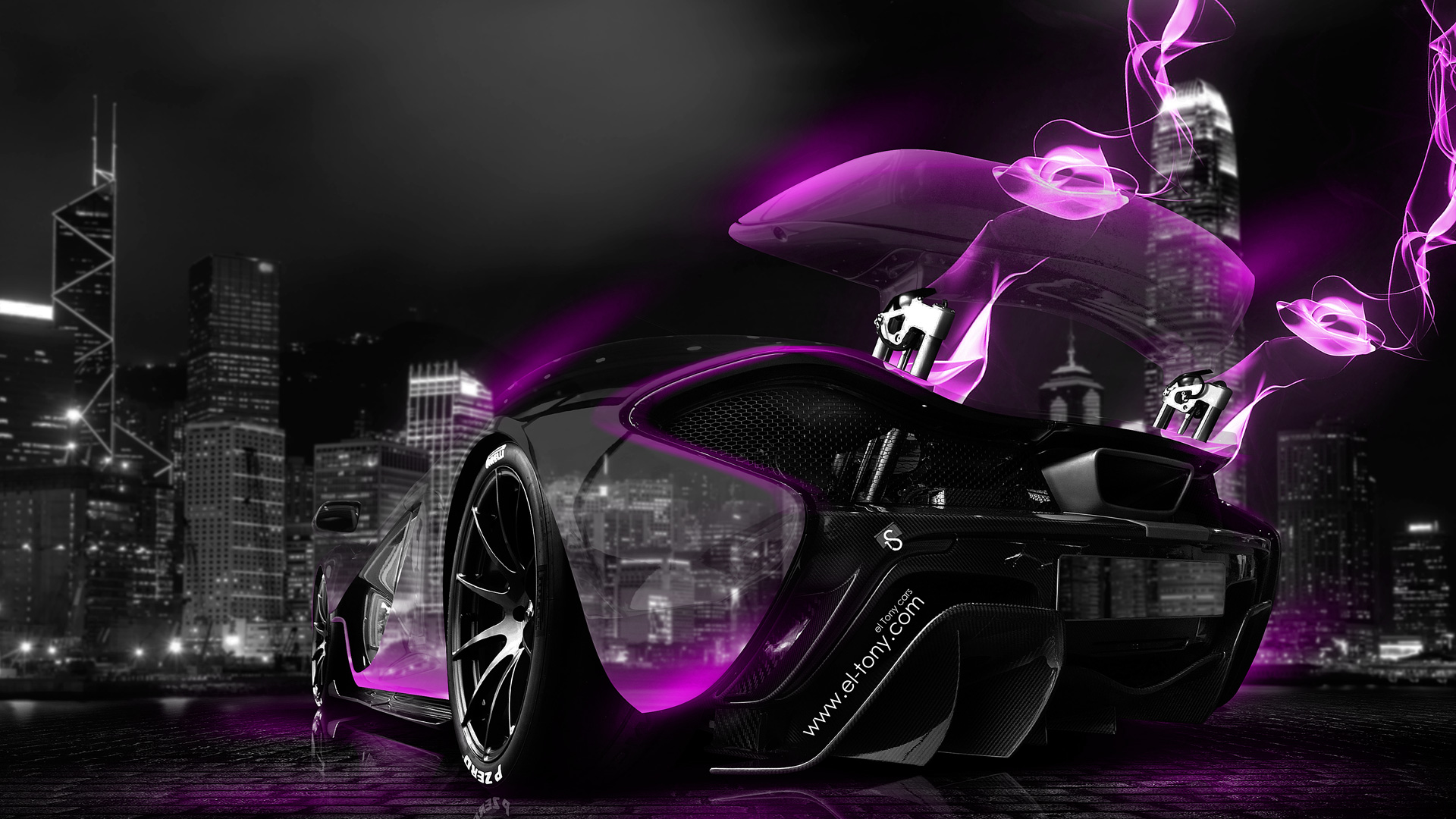 Hd Jdm Car Wallpapers Mclaren P1 Neon Energy Crystal City Car 2014 El Tony