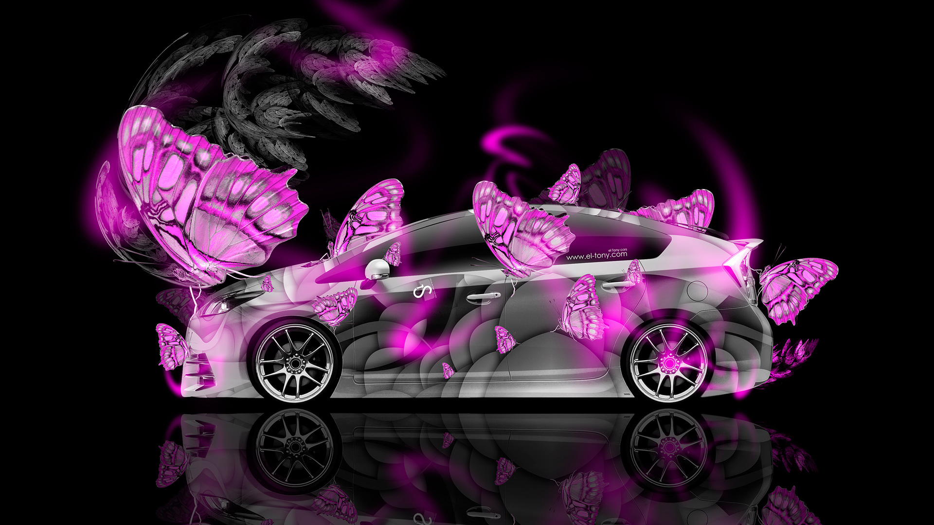 Hd Jdm Car Wallpapers Toyota Prius Hybrid Fantasy Butterfly Neon Car 2014 El Tony