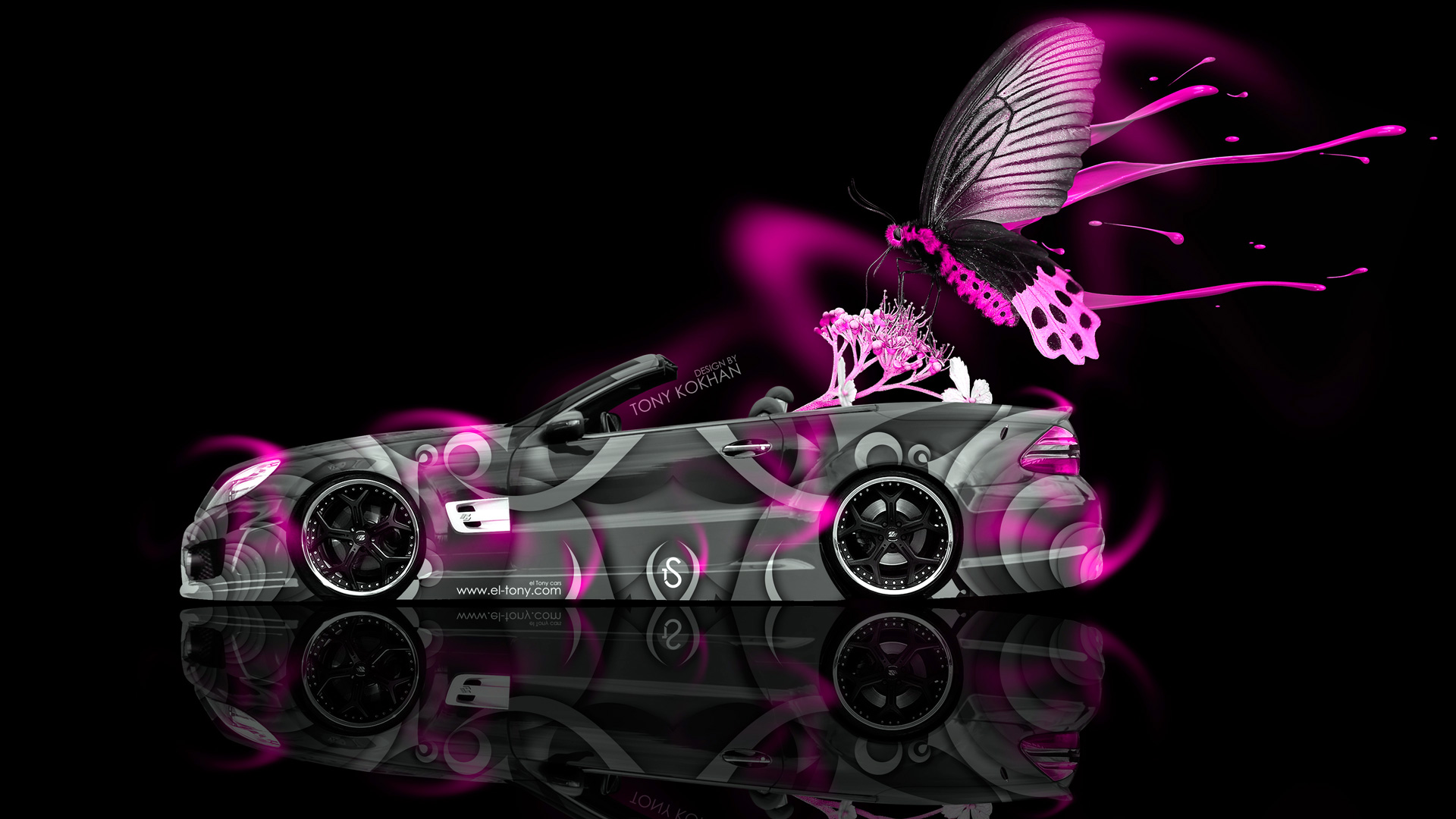 3d Art Girl Wallpaper Mercedes Benz Sl Fantasy Live Colors Butterfly Car 2014