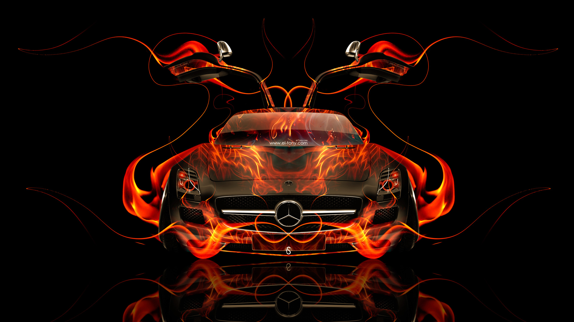 Iphone Muscle Car Wallpapers Mercedes Sls Amg Open Doors Front Fire Abstract Car 2014